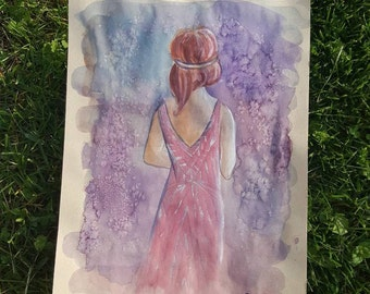 Ethereal Flapper Original Watercolor Painting