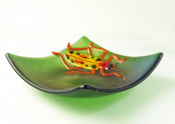 Longhorn Beetle Fused Glass Bowl
