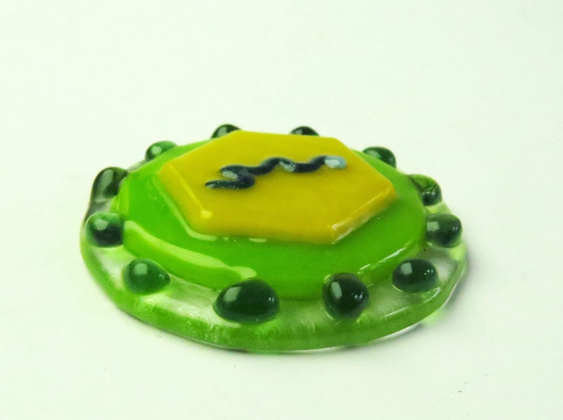 Flavivirus Virus Fused Glass Pendant Pin Magnet Ornament