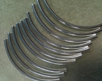 Curved Tube 50mmx3mm Silver plated 10pk