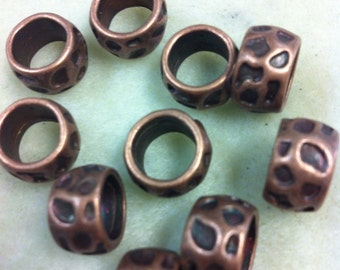 9mm ID Large hole bead textured antique copper 10pk