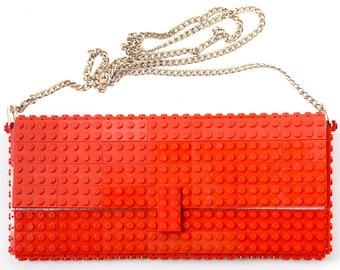Red clutch purse bulk on a chain made with LEGO® bricks FREE shipping purse handbag legobag trending fashion