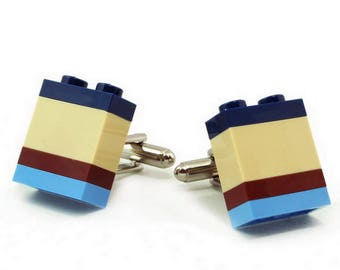 NASHVILLE striped cufflinks made with LEGO® bricks FREE shipping gift idea