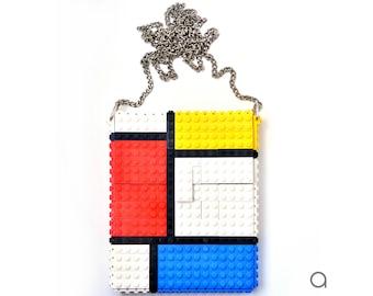 Mondrian hip clutch on a chain made entirely with LEGO® bricks FREE SHIPPING crossbody art design purse handbag