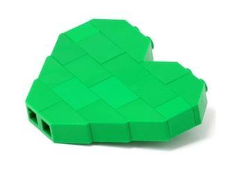Green heart brooch made with LEGO bricks