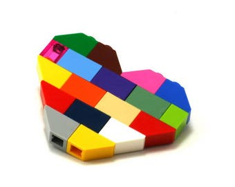 Multicolor heart brooch made with LEGO bricks