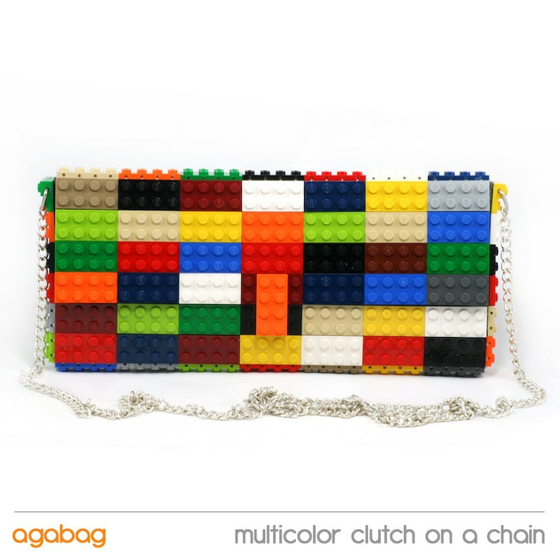 f279eb4675 Multicolor clutch purse on a chain made with LEGO® bricks FREE | Etsy