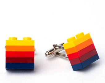 MEXICO striped cufflinks made with LEGO® bricks FREE shipping gift idea