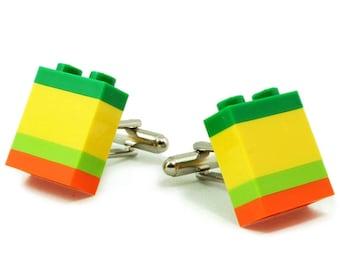 SANTA CRUZ striped cufflinks made with LEGO® bricks free shipping gift idea