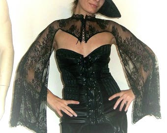 Witch Cape,Sleeves,Lace,Wicca,Corset,Halloween,Vampire,Elf,Fantasy,Steampunk,Fairy,Burlesque,Vaudeville,Victorian,Gothic,Costume.Fafastyle