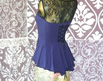 Witch t-shirt,purple,black lace,corset,Wicca,Halloween,Magic,Fantasy,Steampunk,Fairy,Burlesque,Vaudeville,Victorian,Gothic,Costume.Fafastyle