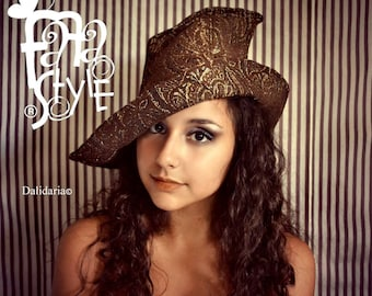 Witch Hat,Brown,Wicca,Magician,Pixie,Halloween,Magic,Elf,Fantasy,Steampunk,Fairy,Burlesque,Vaudeville,Victorian,Gothic,Costume.Fafastyle
