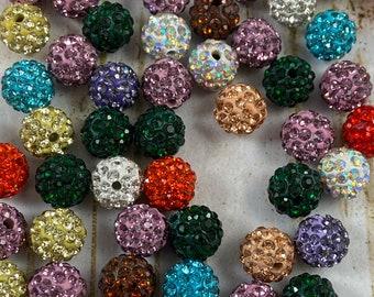 Red SUPVOX 20pcs Pave Czech Crystal Disco Ball Clay Beads Round Rhinestone Disco Ball Spacer Beads Shamballa Jewelry Making Beads 10mm