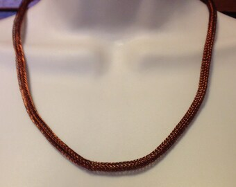 Antique Copper Viking Knit Chain Necklace Adjustable From Twenty One Inches to 23.75 Inches Long One of a Kind
