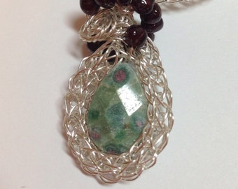 """Ruby Fuchsite Viking Knit Pendant with Garnet Beads 1.75"""" Long on 16"""" Viking Knit Chain with 4"""" Chain Extender Previously 50 Dollars ON SALE"""