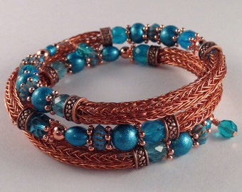 Copper and Turquoise Viking Knit Bracelet Wrap Bracelet with Crystal Bead Charms Fits all sizes Previously 32 Dollars ON SALE