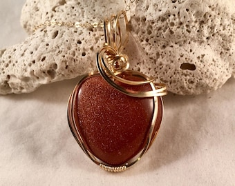 """Red Goldstone Heart Pendant 1.75"""" Long 1"""" Wide Wrapped in 14kt Gold Filled Wire on 14kt Gold Filled 18.5 Inch Chain, One of a Kind"""