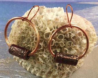Copper Hoop Earrings with Long Round Antiqued Copper Beads on Copper Ear Wires 1.75 Inches long 1 Inch Wide