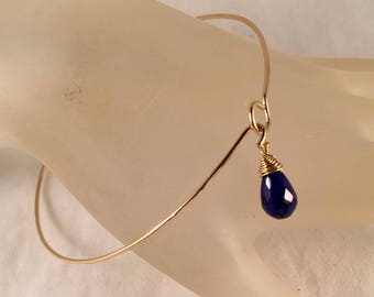 14k Gold Filled Bangle Bracelet with Lapis Bead Charm Fits a 8.25 Inch Wrist or Smaller, One of a Kind, Minimalist Jewelry