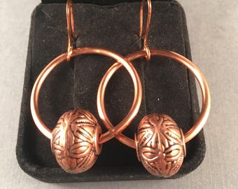 Copper Hoop Earrings with Oval Vintage Antique Copper Accent Bead on Copper Ear Wires 1.75 Inches Long 1 Inch Wide