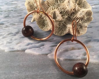 Copper Hoop Earrings with Vintage Round Wood Bead Accent on Copper Ear Wires 1.75 Inches Long 1 Inch Wide