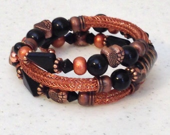 Copper and Black Viking Knit Bangle Bracelet with Vintage Beads  Wraps Around Three Times Fits All Wrist OOAK Previously 35 Dollars ON SALE