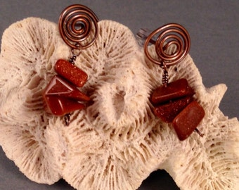 Antique Copper and Sandstone Chip Post Earrings, One of a Kind, 1.25 Inches Long Previously 23 Dollars ON SALE