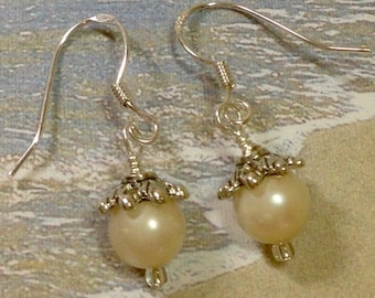 """Pearl Earrings on Sterling Silver Ear Wires with Antique Silver Bead Caps, Vintage 7mm Faux Pearls 1.5"""" Long Previously 25 Dollars ON SALE"""