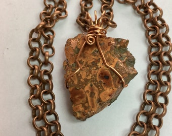 """Composite Copper Gemstone Pendant Wrapped in Copper Wire 1.75"""" Long 1.25"""" Wide on Antique Copper Rolo Chain, One of a Kind ON SALE"""