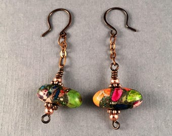 Rainbow Variscite Antique Copper Earrings, Wire Wrapped Dangle Earrings, 2 Inches Long 5/8 Inches Wide, One of a Kind
