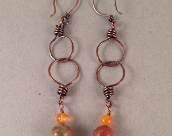 Unakite Antique Copper Dangle Earrings 3.5 Inches Long Handmade One of a Kind Previously Twenty Eight Dollars ON SALE