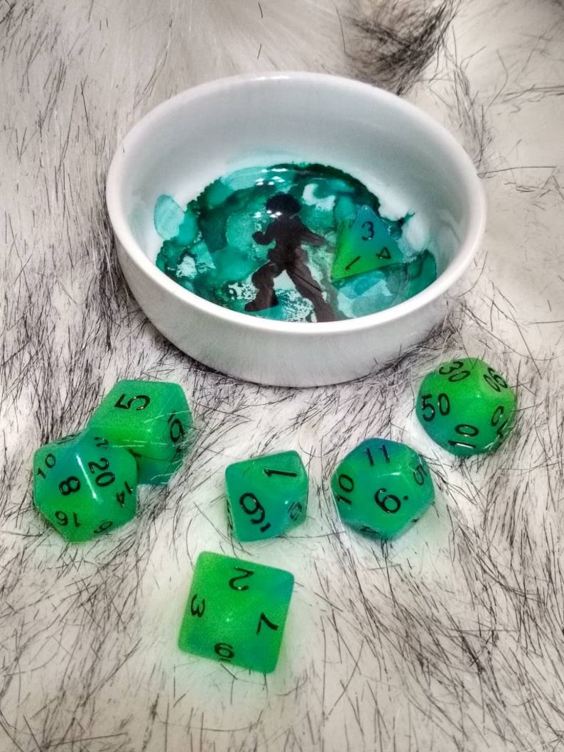 Alcohol Ink and Resin Ceramic Dice Jail D/&D Jewelry Bowl Ring Bowl