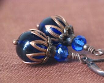 Deep Twilight - Dark Blue Czech Glass and Antiqued Copper Earrings