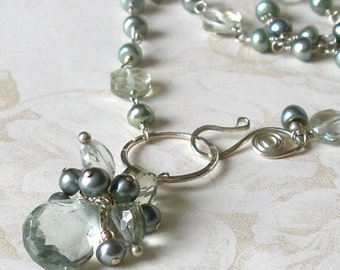 Reserved for C-Prasiolite necklace with sage pearls, handmade sage green amethyst, silver necklace-OOAK