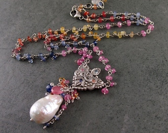 Rainbow sapphire necklace, handmade recycled fine silver and baroque pearl necklace, OOAK Khalila