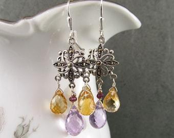 Citrine, Amethyst earrings, handmade sterling silver marcasite chandelier earrings-OOAK