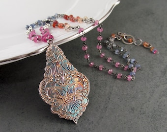 Arabesque sapphire pendant necklace, handmade multi color sapphire, recycled fine silver necklace-OOAK