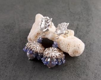 Tanzanite jhumki earrings, handmade eco friendly fine silver, Akoya saltwater pearl Ganesha bell earrings-OOAK