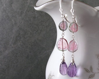 Watermelon tourmaline slice earrings with lavender amethyst, handmade sterling silver jewelry, OOAK February and October birthstone