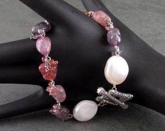 Spinel bracelet, handmade baroque pearl, multi spinel nuggets, and sterling silver toggle bracelet-OOAK