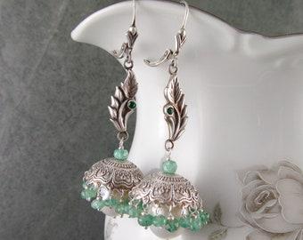 Emerald Jhumki earrings, handmade recycled fine silver and baroque pearl floral bell earrings-OOAK Envy Designs jewelry jhumka #3