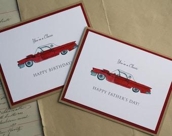 Classic Car Thunderbird Happy Fathers Day Or Birthday Handmade Greeting Card Lover