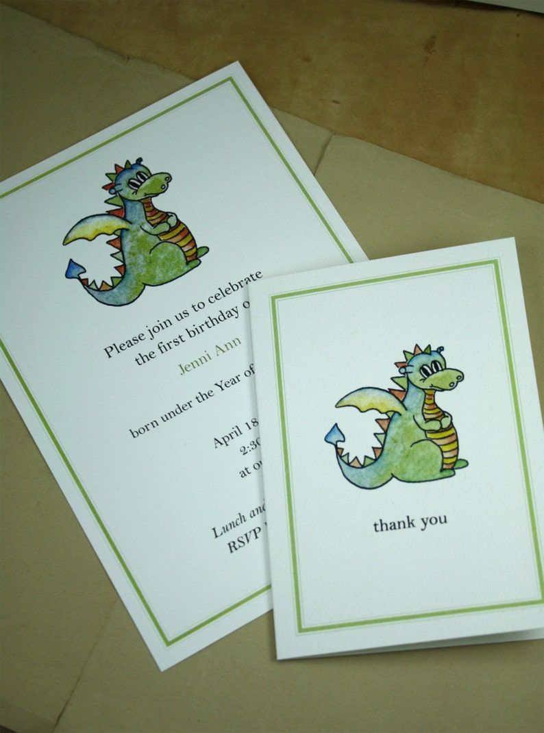 Custom Invitations with Matching Thank You Notes 10 Invites 10 Thank Yous Dragon Set Year of the Dragon Customized