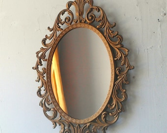 8aa193e952d Baroque Mirror in Deep Gold Vintage Oval Frame