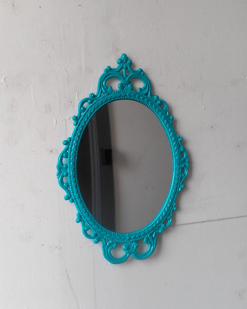 Turquoise Wall Decor Mirror In Vintage Oval Metal Frame Home