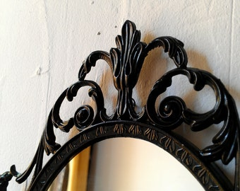 Dark Fairy Tale Mirror, Ornate Vintage 10 by 7 Inch Frame in Jet Black, Victorian Gothic Wall Decor, Decorative Wall Mirrors