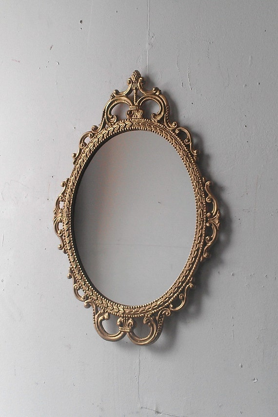 Gold Mirror In Vintage Oval Frame Small Bathroom Wall