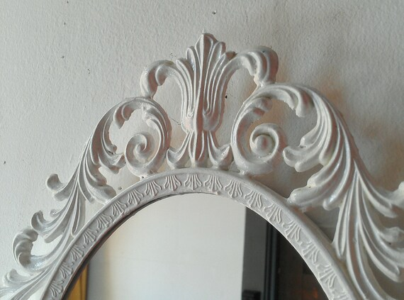 Ornate White Mirror Decorative Vintage Oval Wall Mirrors | Etsy