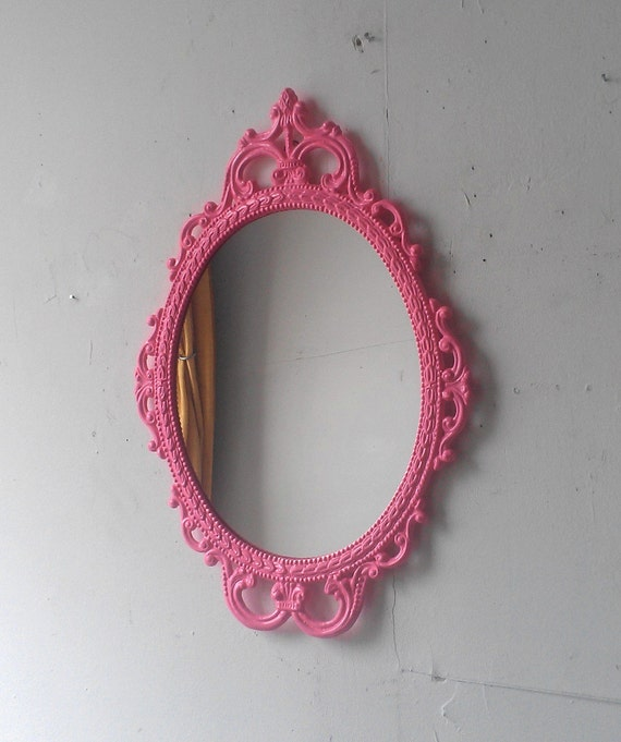 Pink Wall Mirror In Hand Painted Vintage Metal 17x12 Frame Etsy