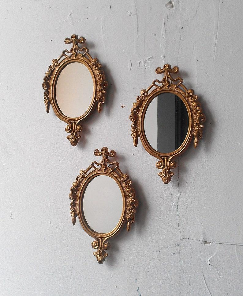 3780542df6b1 Gold Mirror Set Small Decorative Vintage Frames Mid Century